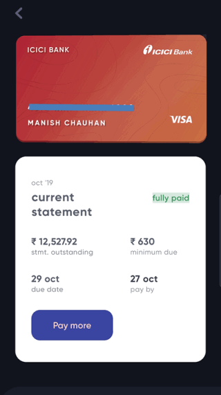 Credit card bill payment on CRED app