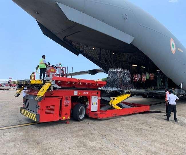 कोरोना के जाल में फंसे भारत को मिल रही विदेशी सहायता। (फोटो: दैनिक जागरण)