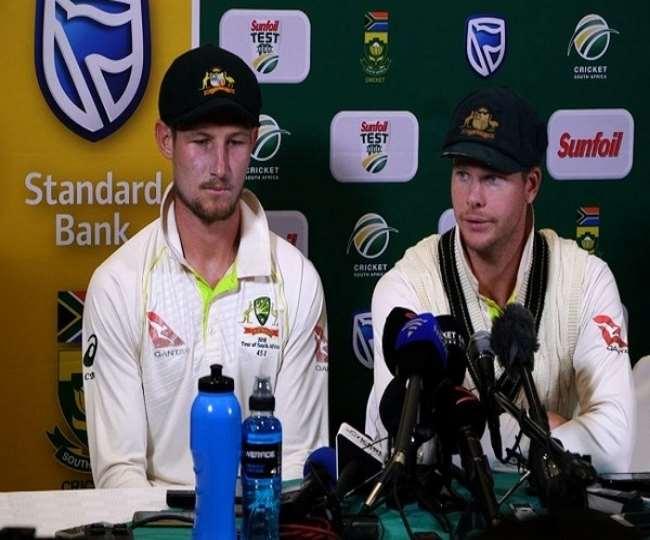 ऑस्ट्रेलियाई क्रिकेटर कैमरन बेनक्रॉफ्ट और स्टीव स्मिथ। ( फोटो- एएनआइ )