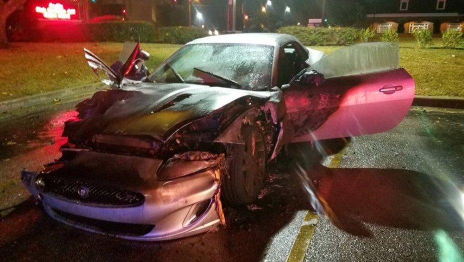 Burned 2012 Jaguar XKR front