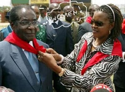 Zimbabwe's First lady might have witnessed the killing of zebras, does not warrant her the go ahead to pair red with zebra print like outfit. I wonder who looks more of an animal her or Mugabe or a zebra