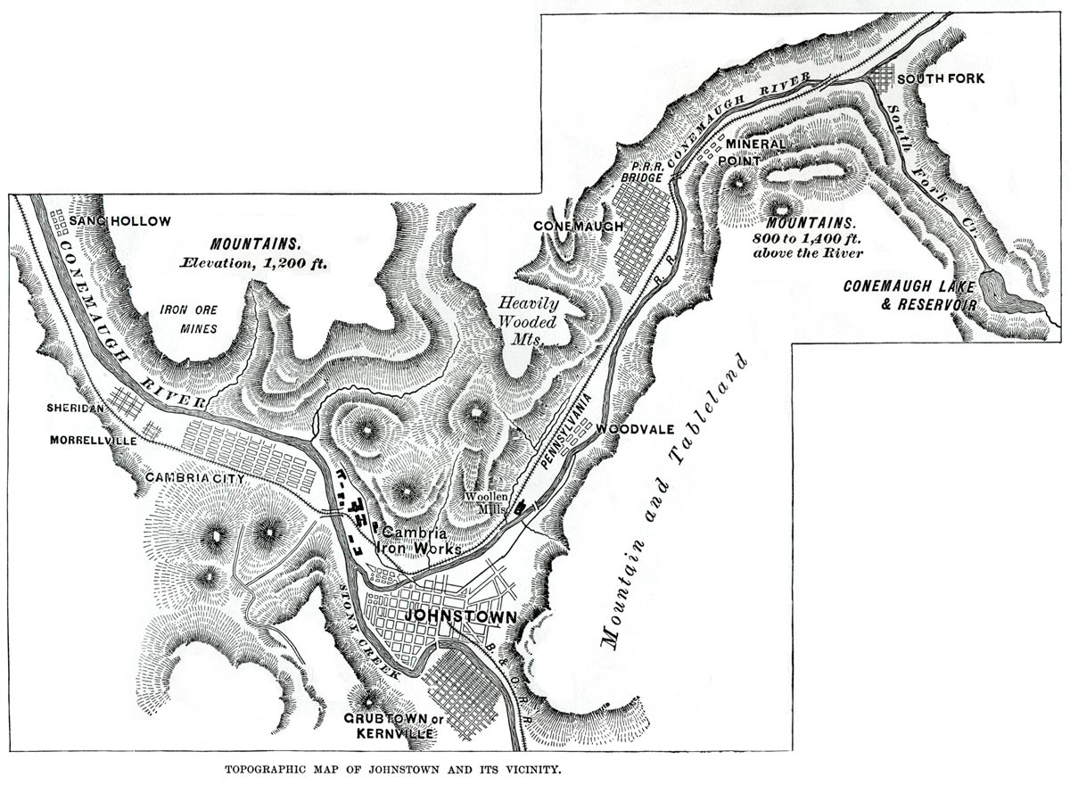 Map Of The Johnstown Floodpath The Johnstown Flood