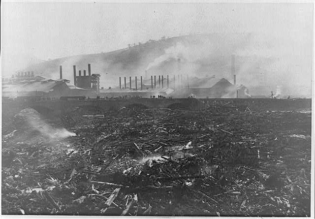 Bridge and Cambria Iron Works, showing 30 acres of debris in the river - Johnstown Flood