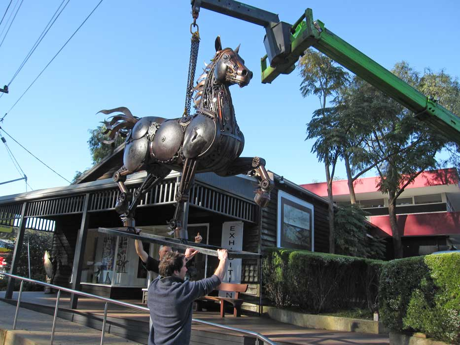 Red Thunder Horse Sculpture Arrival..