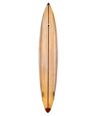 10' Gun Balsa Wooden Surfboard back.