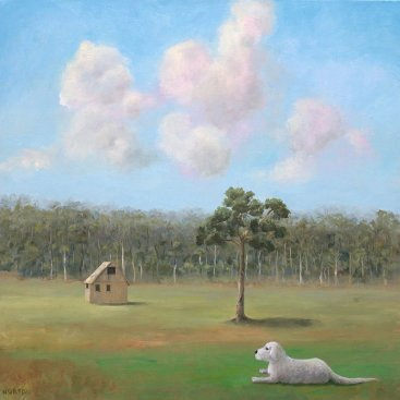 Helen-Norton-Dog-With-Hut-painting