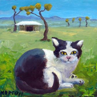 Helen-Norton-Piebald-Cat-On-Farm-painting