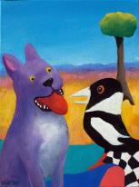 Helen-Norton-Purple-Dog-With-Magpie-painting
