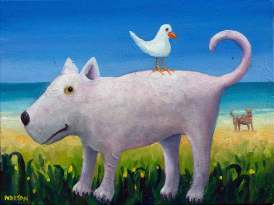 Helen-Norton-White-Dog-With-Seagull-painting