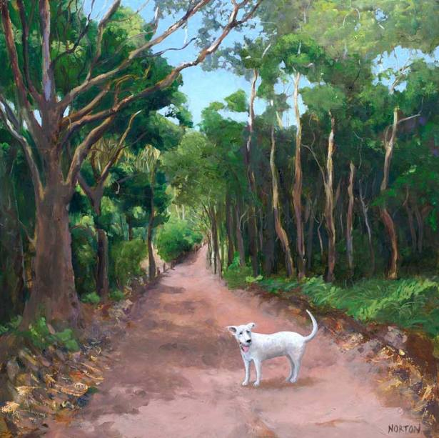 Helen-Norton-White-Dog-on-Forest-Track-painting