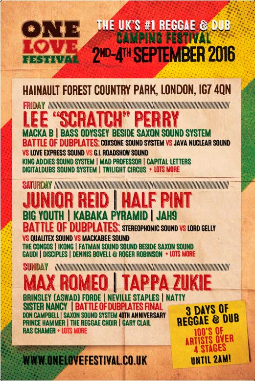 [UK] - ONE LOVE FESTIVAL - LEE 'SCRATCH' PERRY + MACKA B + CAPITAL LETTERS + TWILIGHT CIRCUS + MAD PROFESSOR + NUCLEUS ROOTS