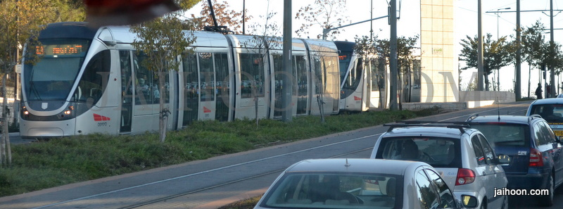 A tram passes by