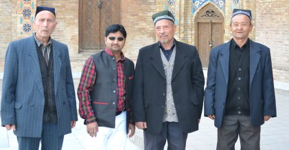 With native elders outside Gur-e-Amir, the tomb of Amir Timur