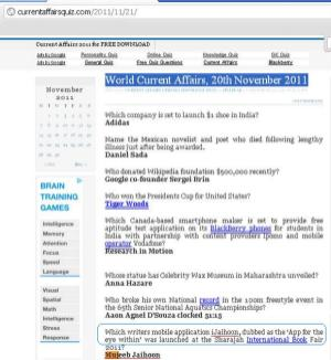 #iJaihoon is listed in the quiz of World Current Affairs, 20th November 2011