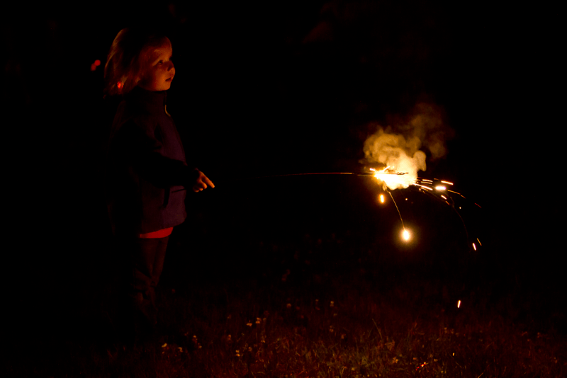 Lucy's first time with sparklers