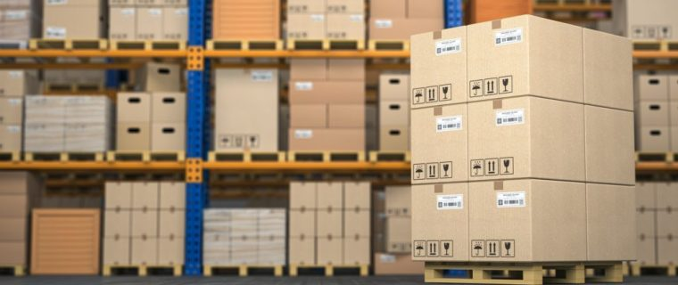 Warehouse or storage with cardboard boxes on a pallet. Logistics and mail delivery concept.
