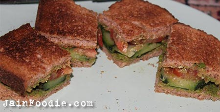 Jain Vegetable Toast Sandwich
