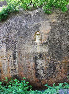 The sculpture of a Jain Tirthankara on top of the Arittapatti hill near Melur. Illegal quarrying in Arittapatti has been suspended now.