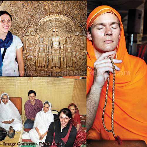 Axel Jarvengren at Parshvanath Jain Mandir; Ellen Gough in Rajpur