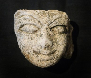 Karnataka : Bengaluru , 16/03/2016 . Stone faces found during the ongoing excavation by Archeological Survey of India (ASI) at Aratipura near Maddur in Mandya District of Karnataka state . Photo:K. BHAGYA PRAKASH