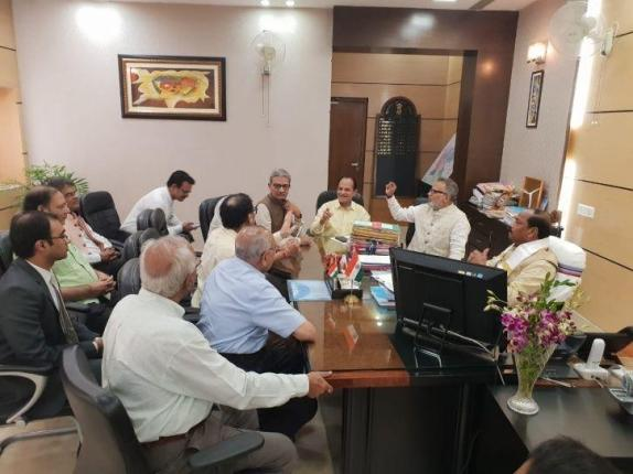 A meeting with the Jaharkhand chief minister to save the Jain pilgrim site, Sammedha Shikarji, Jharkhand.