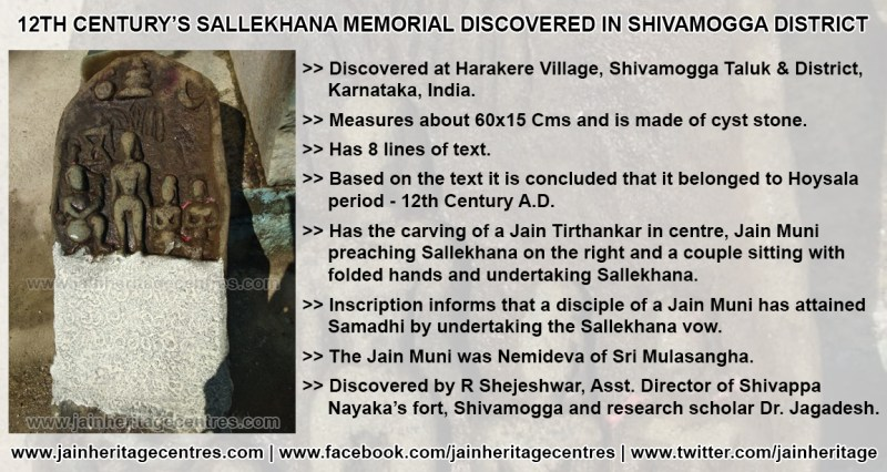 12th Century's Sallekhana Jain Inscription found at Harakere Village, Shivamogga District, Karnataka.