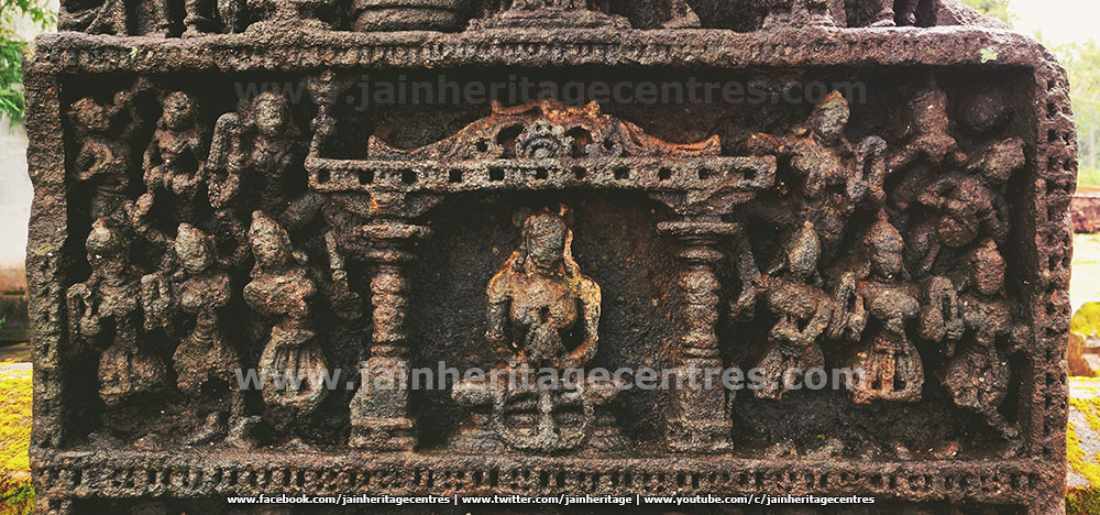Middle Panel of the attractive Sallekhana Memorial of a Jain Queen at Hombuja.
