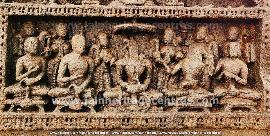Bottom Panel of the attractive Sallekhana Memorial of a Jain Queen at Hombuja.