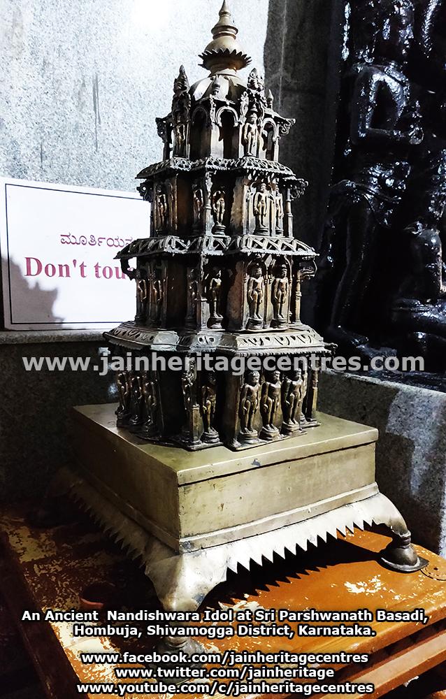 An Ancient Nandishwara Idol at Sri Parshwanath Basadi, Hombuja, Shivamogga District, Karnataka.