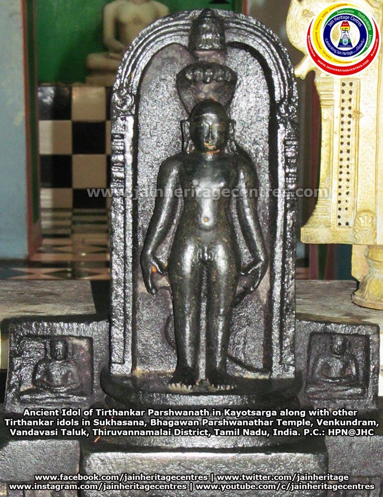 Ancient idol of Tirthankar Parshwanath in Kayotsarga along with other Tirthankar idols in Sukhasana, Bhagawan Parshwanathar Temple, Venkundram, Vandavasi Taluk, Thiruvannamalai District, Tamil Nadu, India.