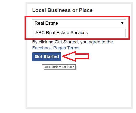 Facebook local business or place