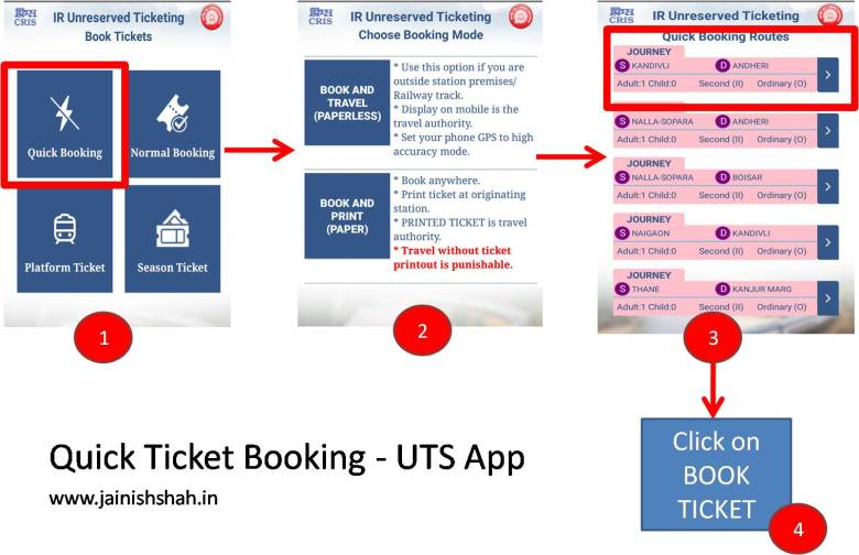 quick ticket booking in uts