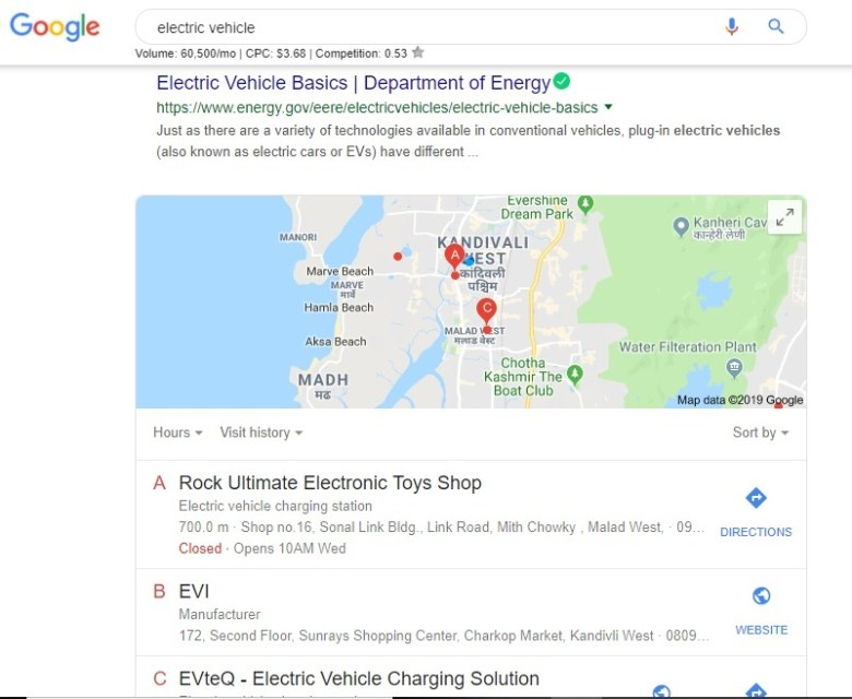 keyword electic vehicle searched on google