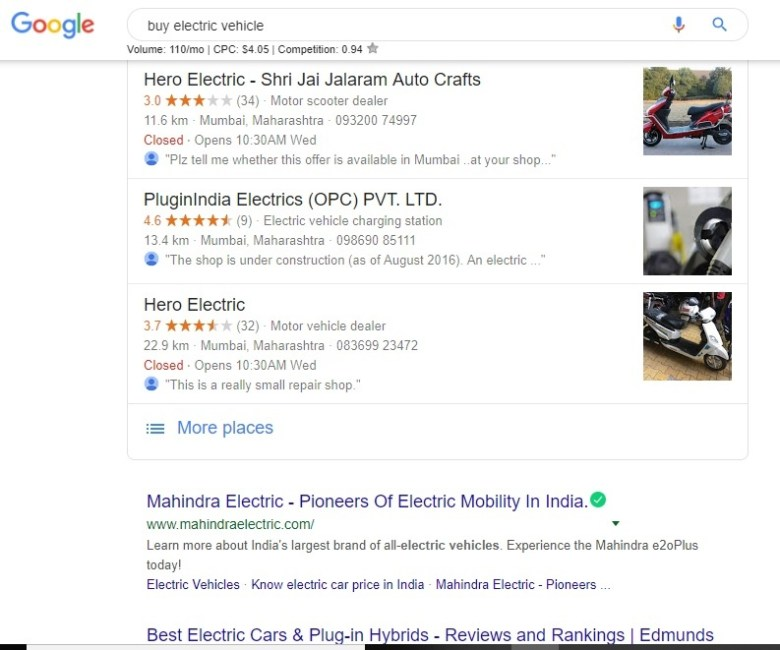 when buy electric vehicle is searched on google