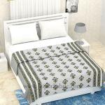 Combo321 Grey Floral Bedsheet Comforter Set