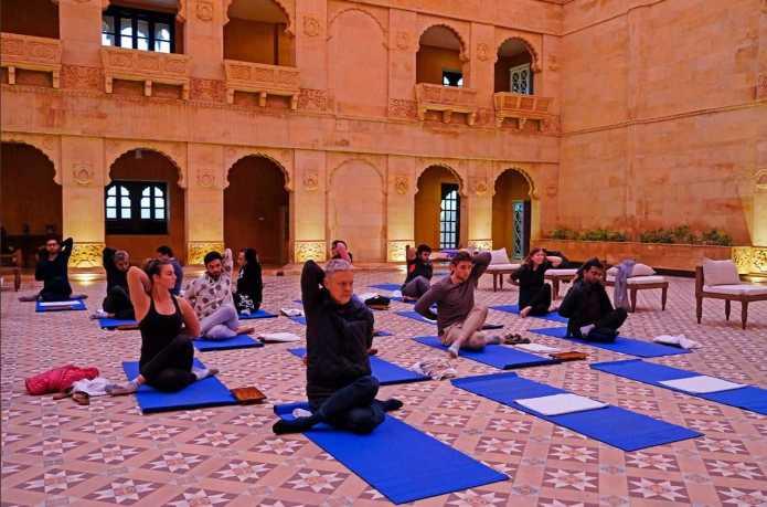 Yoga Class In Suryagarh Hotel Jaisalmer