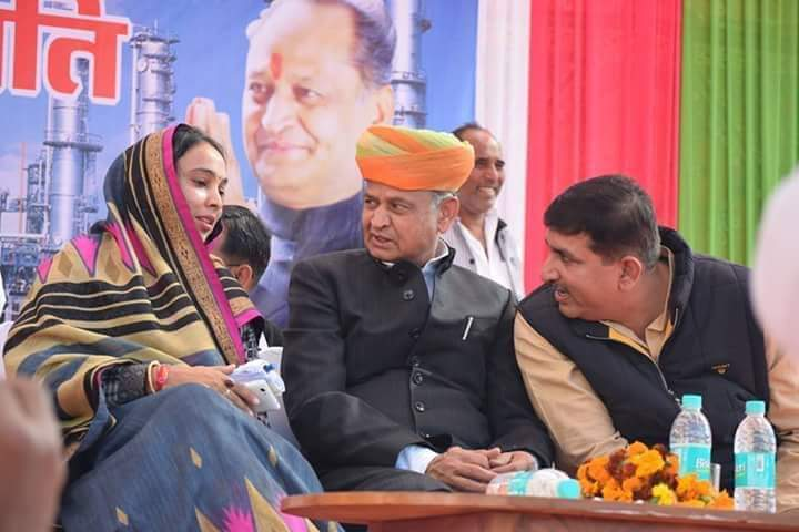 anjana meghwal with ashok gehlot and harish chaudhary