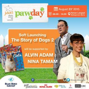 Alvin Adam and Nina Tamam are ready to entertain you at PawDay! We're closing down our online tickets purchase soon. So hurry up email wennychow@icloud.com if you still haven't got your tickets as this is your last chance to get early bird price! #jaan #jakartaanimalaidnetwork #pawday2015 #jakartaevent #cfd #carfreeday #dogwalk #doglovers