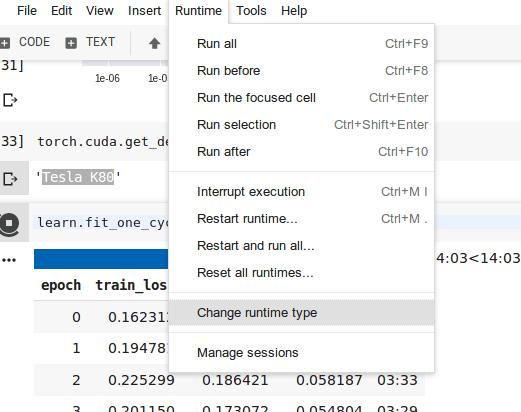 Runtime -> Change runtime type