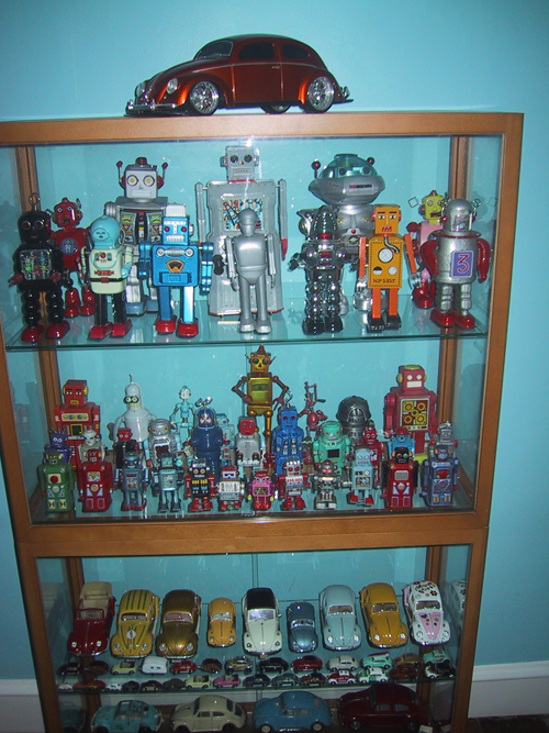 display case with robots and vw bugs