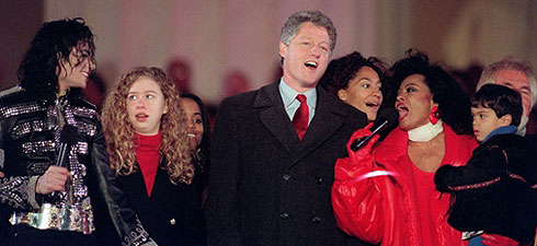 President Clinton, Michael Jackson and Diana Ross We Are The World