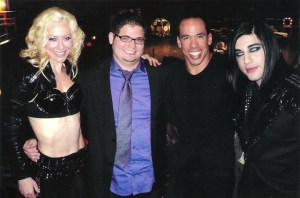 """Andrew posed with fellow Season Seven competitors mind reader Eric Dittleman and aerialists Donovan and Rebecca after a taping of """"AGT."""" (Photo courtesy of Andrew De Leon)"""