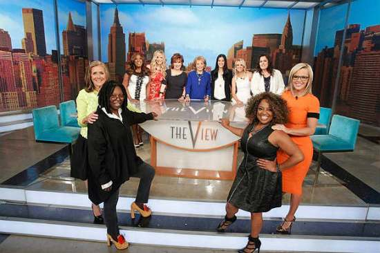 """All past and present """"The View"""" co-hosts posed together on Barbara Walters' second-to-last episode of """"The View."""" (Photo property of ABC's Lou Rocco)"""