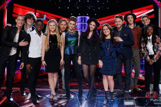 """The Voice: Season Seven"" Top 12 reunited on tonight's episode! (Photo property of NBC)"