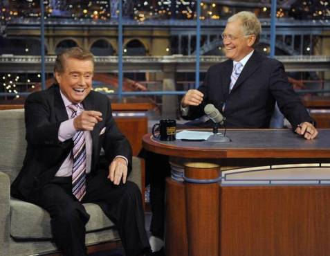 "TV legend Regis Philbin holds the record for the most appearances on ""The Late Show with David Letterman"" with over 150 appearances. (Photo property of CBS & Worldwide Productions, Inc.)"
