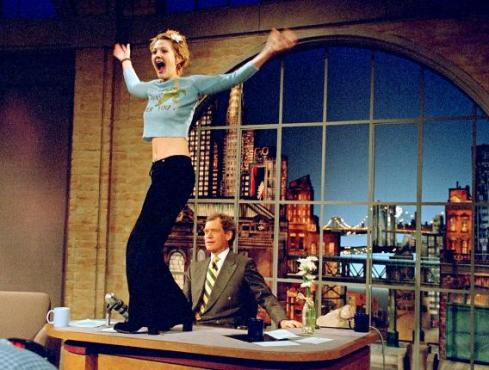 "Drew Barrymore's striptease remains one of the most talked about ""Late Show"" moments of all-time. (Photo property of CBS & Worldwide Pants, Inc.)"