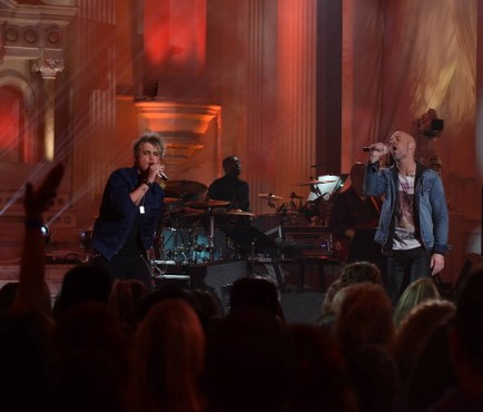 "Frontrunner Dalton Rapattoni performed ""Higher Ground"" with mentor Chris Daughtry during a taping of ""American Idol."" (Photo property of FOX's Ray Mickshaw)"