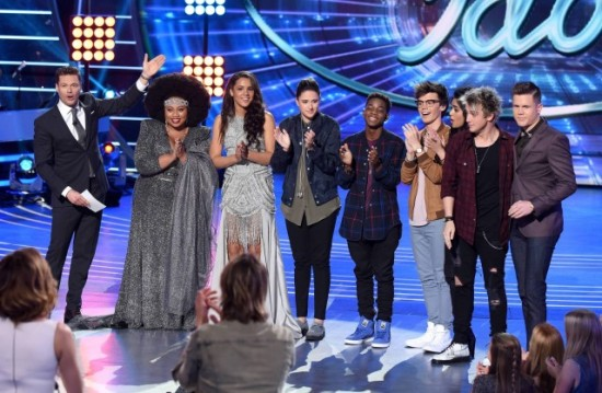 "The ""American Idol: Top Eight"" pose with Ryan Seacrest during an ""American Idol"" taping. (Photo property of FOX, FremantleMedia North America & 19 Entertainment)"