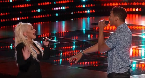 Joe Maye's impromptu duet with Christina Aguilera remains one of the best moments of the season. (Photo property of NBC & MGM TV)