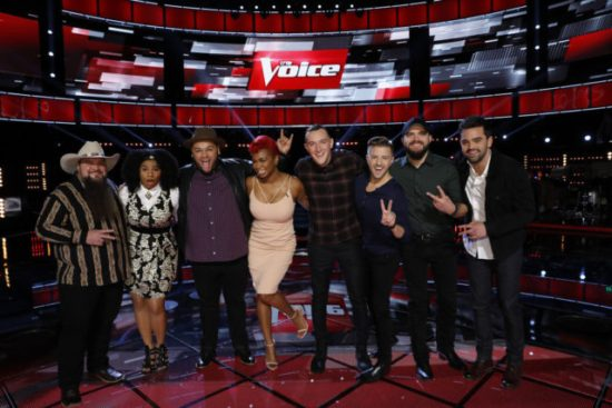 """The Voice: Season 11"" Top Eight pose together. (Photo property of NBC's Trae Patton)"